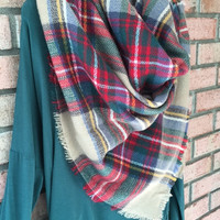 Beautiful Plaid Blanket Scarf