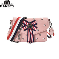 2017 Spring New Bow Ladies Messenger Shoulder Bags Small Party Fashion Women Cross body Bag Candy Color Chain Square Flap Bag