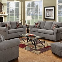 Simmons 1640 Flat Suede Gray Microfiber Sofa and Loveseat