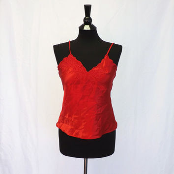 Vintage Red Rose Embroidered Camisole Floral Lace Delicates Lingerie Top Boudoir Pin Up Girl Victorian Satin Tank 1920s Style Teddy Sexy