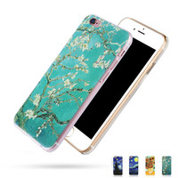 Sunflower Vincent Van Gogh Starry Sky Oil Painting Back Cover for iPhone SE 4s 5s 6 6s Plus Phone Cases Abstractionism Art