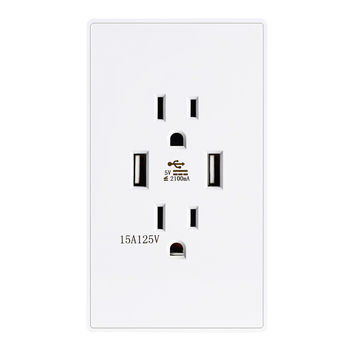 VRAMBO Dual USB Ports Charger DC 2.1A High Speed Adapter AC 15A Electric Power Socket Standard Outlet Wall Receptacle Plate Panel Dock Station Mirror Surface White 1 Pack 1 x Mirror Surface
