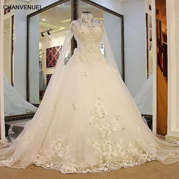 LS01732 Fashion Bridal Wedding Gown Sexy Backless High Neck Long Sleevesl Tulle Lace Ball Gown Wedding Dresses with Bling