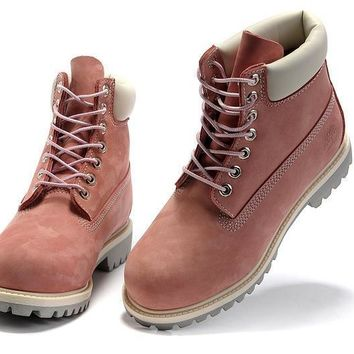 ESBON Timberland Rhubarb Boots 2018 White Pink For Women Men Shoes Waterproof Martin Boots