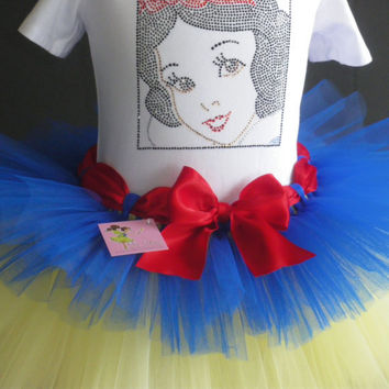 6 6X Snow White Costume tutu rhinestone t-shirt Disney dress