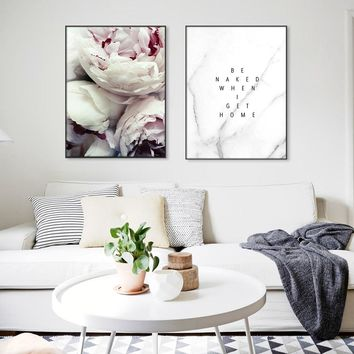 Posters Minimalist Peony Letter Cuadros Nordic Poster And Prints Canvas Painting Wall Art Flower Pictures For Living Room Decor