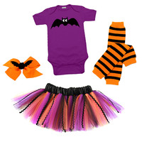 Baby Bat Halloween 4 Piece Tutu Set