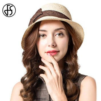 FS Elegant Bow Flower Sun Hat For Women Summer 100% Raffia Straw Hats Roll Up Brim Floppy Beach Visor Cap
