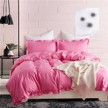 Luxury Blue Pink Solid duvet cover stripe ruffle set US King/Queen/Twin size 3pcs/set girls bedding quilt set capa de edredon#SS