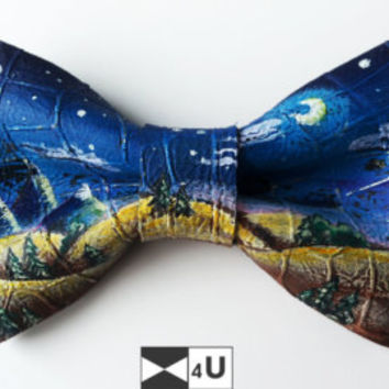 Bow Tie Leather Painted Cool Art Moon Night Pre tied Necktie Bowtie Fashion Unique Exclusuve Fancy Dickie Bow Party Men Lady Gift BowTie4You