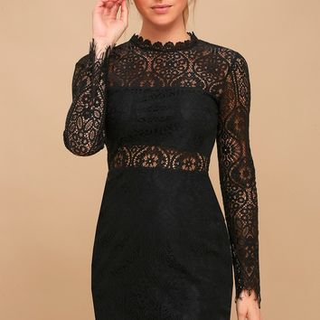Appetite for Seduction Black Lace Long Sleeve Dress