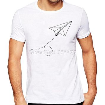 Summer Fashion Paper Airplane Printed T Shirt Men S Cool Design Tops Custom Hipster Tees - Beauty Ticks