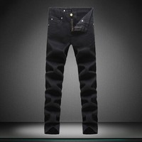 Slim Men's Fashion Black Strong Character Casual Jeans [164468064285]