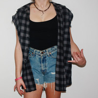 Oversized  Studded Sleeveless Flannel