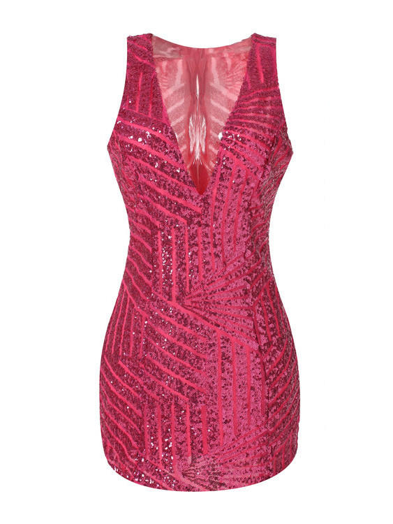 1736c440 Rose Red V-neck Sleeveless Gold Sequined from Western Moon | Epic
