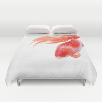 Goldfish, Red Goldfish, Gold fish, Watercolor painting by Suisai Genki Duvet Cover by SuisaiGenki