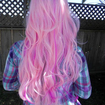 Cotton Candy Pink and Neon Purple / Long Curly Layered Wig Mermaid Hair Lolita Natural Scalp Piece