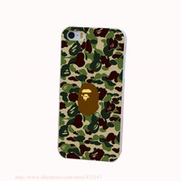 bape Hard White Cover Case for iPhone 4 4s 5 5s 5c 6 6s Protect Phone Cases