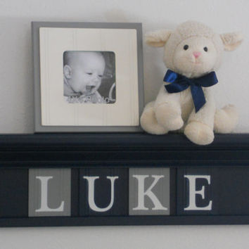 "NAVY BLUE Personalized Children Nursery Wall Decor 24"" Navy Shelf with 4 Wooden Letter Blocks Navy and Grey - Custom for LUKE"