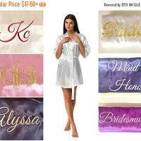 SALE Cheap personalazied bridesmaid robes, Bridal party robes, Personalised bridesmaid gifts, Robes in White, Blush, Red, Black, Navy, Gold,