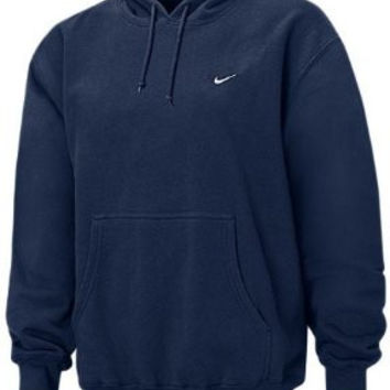 Nike Mens Navy Pullover Fleece Lined Hooded Hoodie Embroidered Sweatshirt Size Small