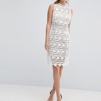 New Look Premium Cutwork Lace High Neck Dress at asos.com