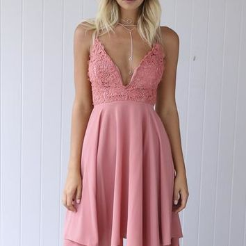 Butterfly Catcher Dress (Dusty Pink) | Xenia Boutique | Women's fashion for Less - Fast Shipping