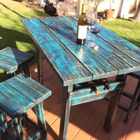Rustic Dining Set with Wine Rack