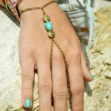 Slave Bracelet Hand Bracelet  Piece Hipster Bronze Chain Bohemian Hand Jewelry Turquoise Mina