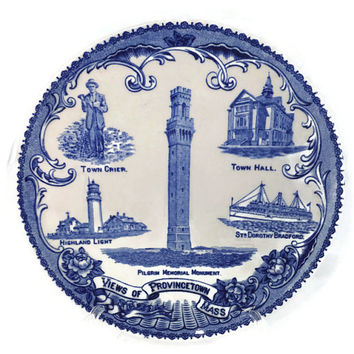 Antique Provincetown Mass Souvenir Plate -  English Staffordshire Flow Blue, Rare, Massachusetts, Pilgrim Memorial, Highland Light, P Town