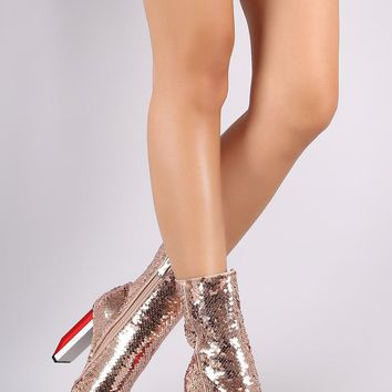 Sequin Pointy Toe Rectangle Light Bulb Heeled Boots