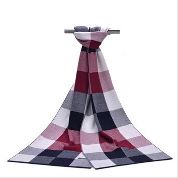 New autumn and winter Long section of high-end men's plaid scarves Warm thickened wool scarf