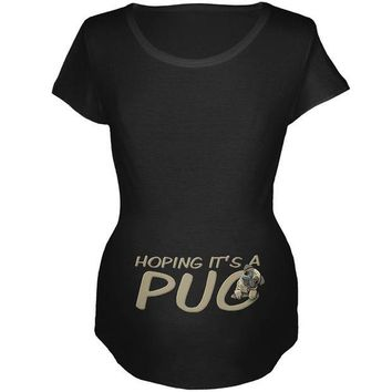 DCCKJY1 We're Hoping it's a Pug Funny Cute Puppy Maternity Soft T Shirt