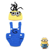 Little Minion Handmade Crochet Costume Set Baby Boy Girl Photography Prop