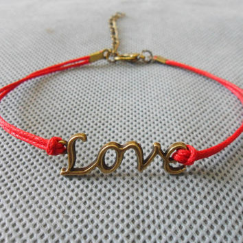 Jewelry bangle women bracelet girls bracelet love bracelet made of red hemp rope and ancient  love sign bracelet cuff  SH-1674