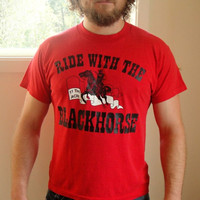 25% Sale 80's Red 'Ride With The Blackhorse' T-Shirt. Western Graphic Tee. 11th ACR. Military. Unisex. Large XL