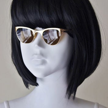 Gold sunglasses, vintage, retro, 12K gold filled frames, brown lenses, art deco, 1950s, cool girl chic