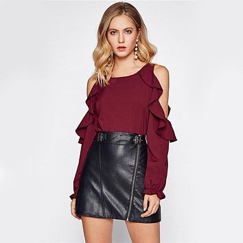 Open Shoulder Ruffle Blouse Elegant Women Burgundy Autumn Tunic Tops Fall Fashion Sexy Cut Long Sleeve Slim Blouse