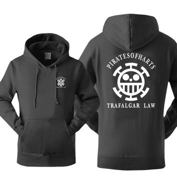 Japan Anime One piece Luffy Trafalgar Law Printing Men Hoodies 2017 Autumn Winter Warm Fleece Sweatshirts Hoodie Men For Adult