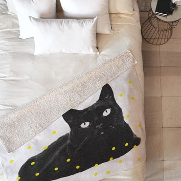 Elisabeth Fredriksson A Black Cat Fleece Throw Blanket