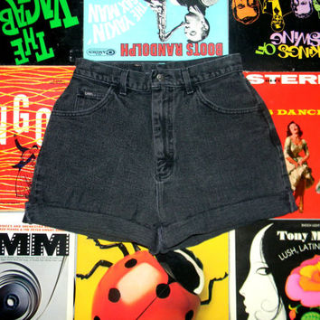 High Waisted Denim Shorts - 80s Black Stone Washed Jean Shorts - High Waist, Cut Off, Frayed, Rolled Up LEE BRAND Shorts Size 10 Medium M