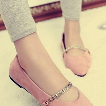 Pink Point Toe Chain Casual Flat Shoes