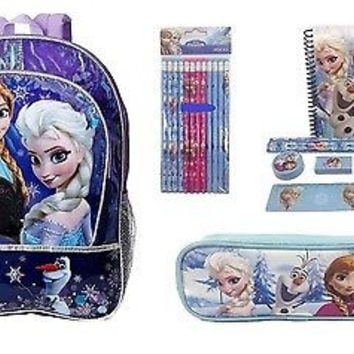 Disney Frozen Anna Elsa Sisters Stick Together Backpack,Pencil Case, & Study Set