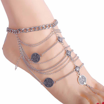 Coin Charms Tassel Anklet With Toe Ring