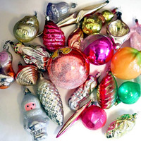 Vintage Christmas Decor - Glass Baubles Ornaments Decorations - set of 20 - Set 4 - 1970s - from Russia / Soviet Union / USSR