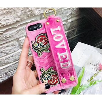 Loved 2018 new velvet fashion personalized embroidery mobile phone case F0546-1 Pink