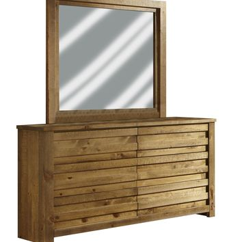 Melrose Transitional Drawer Dresser And Mirror Driftwood
