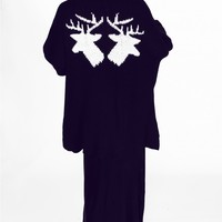 MIRRORED DEER SLOUCH CARDIGAN