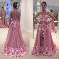 DZ025 Sexy Evening Dresses Long Robe De Soiree Sheer See Through Prom Dress Pink Appliques Lace Long Sleeve Evening Dress
