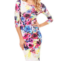Floral Bodycon Mini Dress with Sleeve